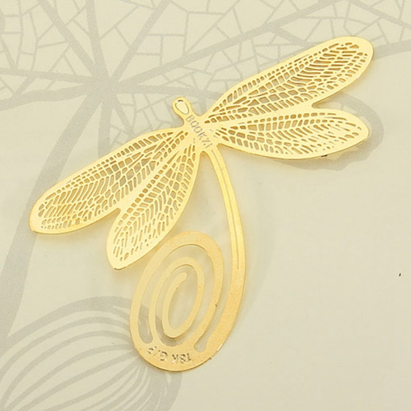 New Stylish Fashion Design for Creative Reading 18K Gold Golden Dragonfly Style Bookmark Book Marks Gifts(China (Mainland))