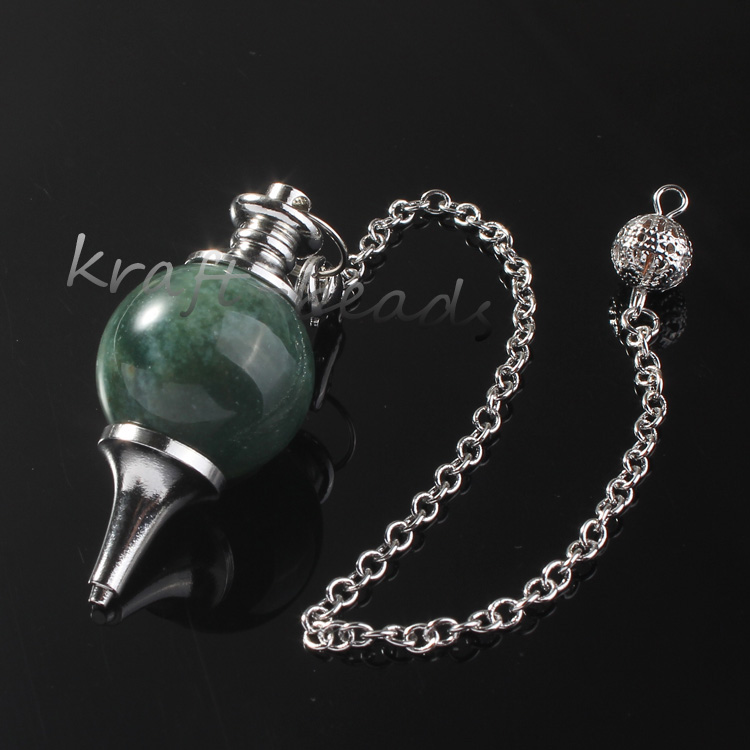 wholesale 10Pcs Charm Silver Plated Chain Indian Agate Stone Chakra Healing Point  Dowsing Pendulum Pendant Jewelry