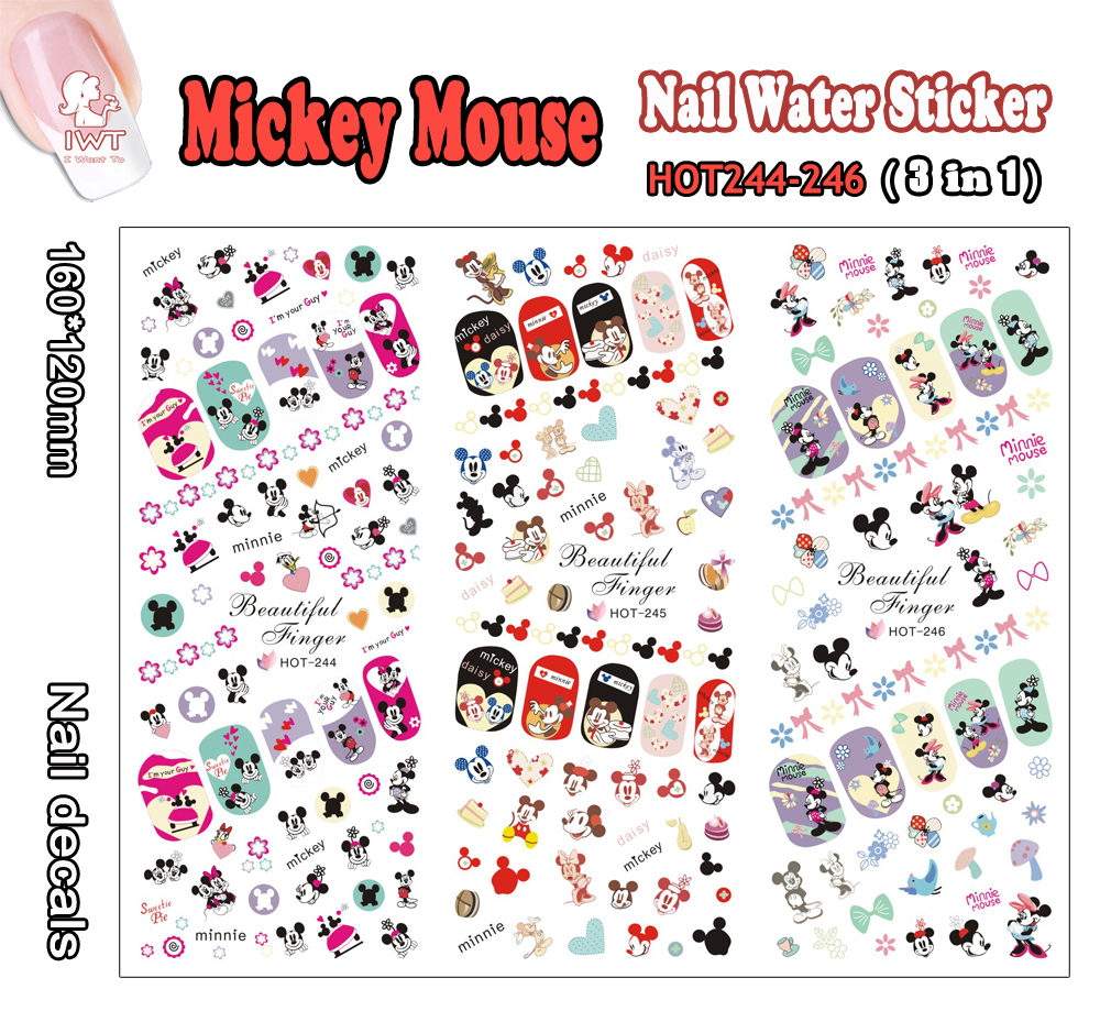 Hot Nail (Large Piece HOT244-246 3 DESIGNS IN 1) Mickey Cartoon Mouse Nail Art Wrap Water Sticker for Nail Art Decoration(China (Mainland))