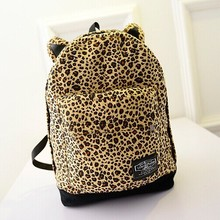 Mochila Femininas 2016 New Women Backpack Canvas Women School Bags Leopard Ear Backpack Vintage School Bags For Girls(China (Mainland))