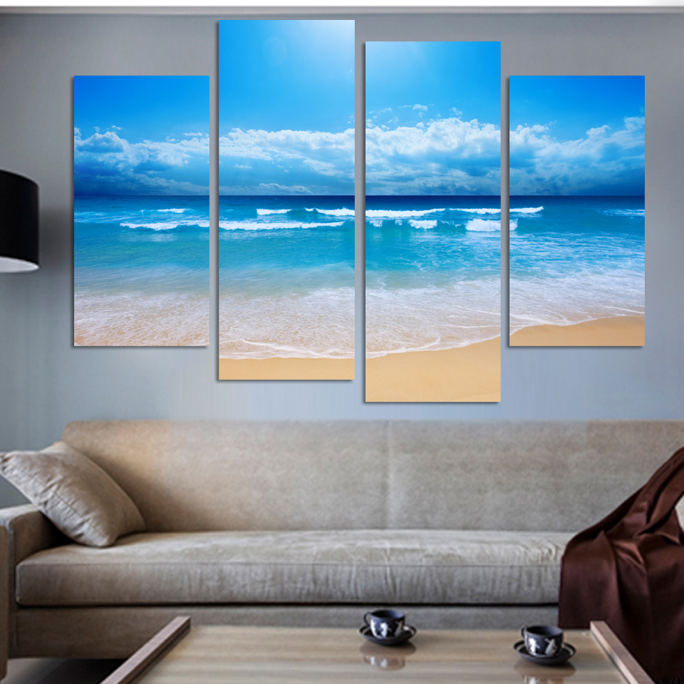fashion beach prints home decor decoration picture beautiful canvas art cheap chinese oil painting 4 pcsset no frame wholesale