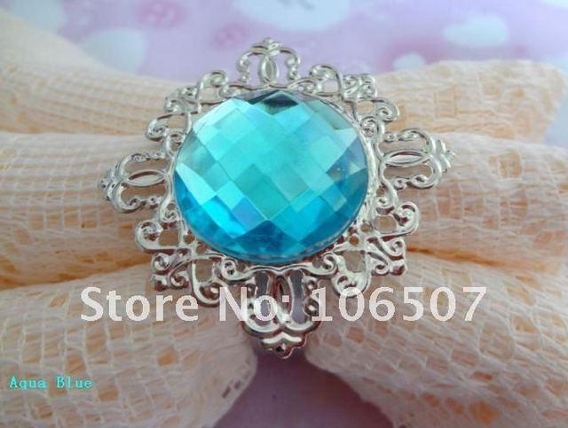 100% quanlity assurances 15pcs Aqua Blue Gem Napkin Rings banquet Wedding Favour Party table decor HOT-Wholesale and Retail