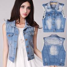 Cute Girl Women Summer Style Denim Jean Short Jackets Retro Washed Vintage Sleeveless Cardigan Denim Vest Waistcoat Coat Jacket(China (Mainland))