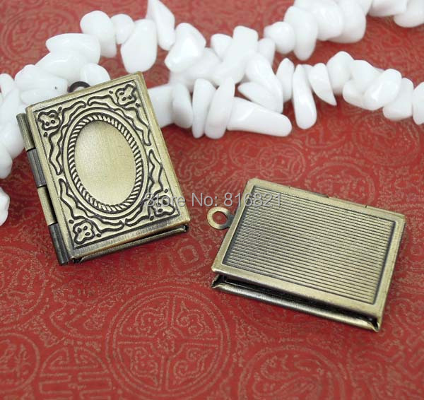19x25mm Book shape Wish box Prayer Photo Locket Pendant Settings Findings Craft DIY Brushed Antique Bronze tone(China (Mainland))