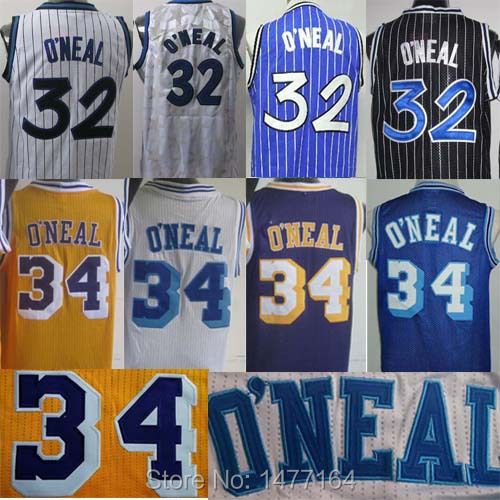 Free Shipping Shaq Throwback Basketball Jerseys 34 Shaquille O'Neal Jersey Orlando Los Angeles Embroidery Name Number S-XXL(China (Mainland))