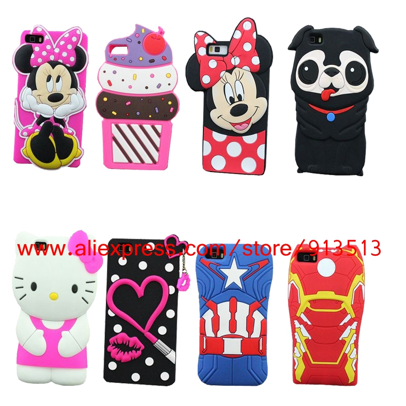 Hot Style 3D Silicone Hello Kitty Minnie Dog Captain American Iron Man Lips Cupcakes Soft Case Cover for Huawei Ascend P8 Lite(China (Mainland))