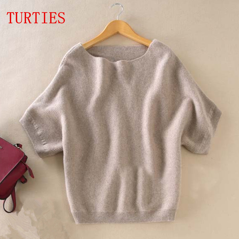 Seasons A word collar Cashmere Sweater New women loose big yards bat shirt was thin short-sleeved knit hedging wild Sweater
