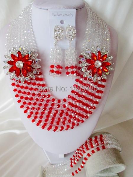 Fashion Nigerian African Wedding Beads Jewelry Set ,Crystal Necklace Bracelet Earrings Set A-5974<br><br>Aliexpress