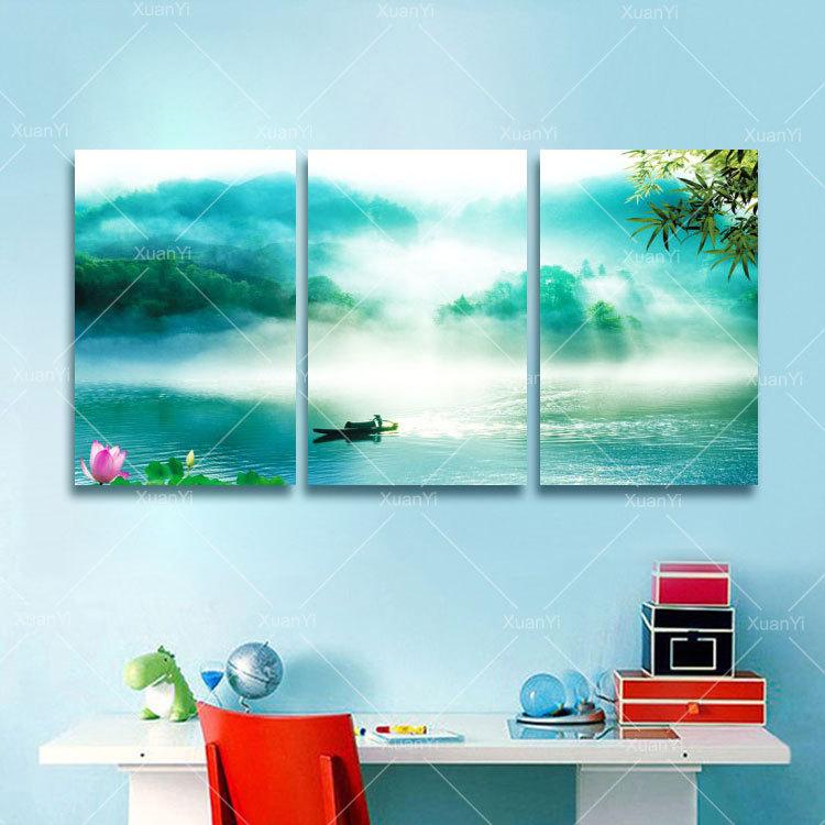Lake Home Wall Decor : Piece modern natural ry lake home decor wall art