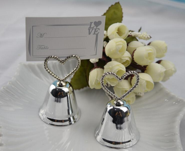 Free Shipping Wholesale 200PCS Silver Heart Bell Place Card Holder Wedding Favors With Matching