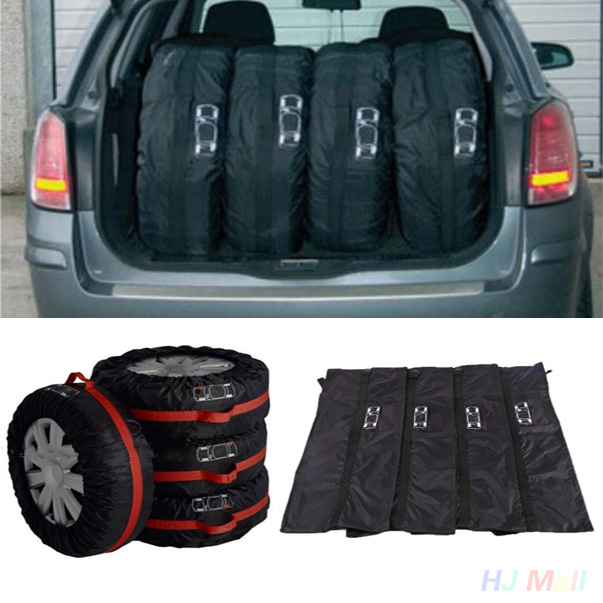 4Pcs Car Spare Tyre Tire Cover Anti-Dust Storage Bag Protector Carry Tote Black(China (Mainland))