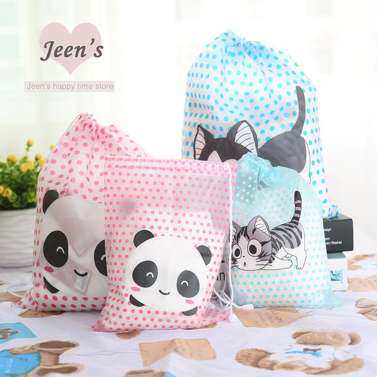 1 Pcs Cute cat panda Polka Dot PVC Waterproof Drawstring Bag Travel Storage Bag Creative Living Travel Sorting bag Free Shipping(China (Mainland))