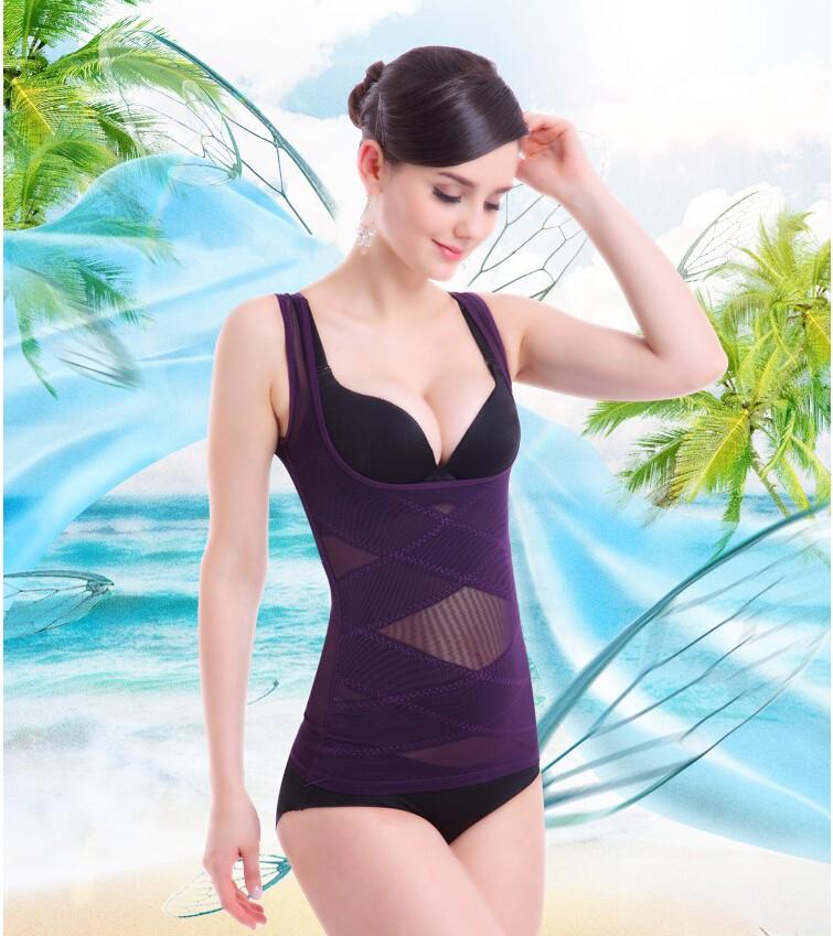 Breathable Body Shapin Underwear Thin Body Shaping Vest Female Net yarn lace thin waist breast care abdomen girly Seamless women
