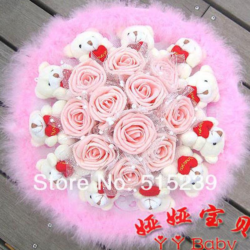 Soft Plush Toy Bouquet 11 Glitter Rose Bear holding heart Cartoon bouquets Valentine/Graduation Gift Bleu Purple Pink - flower bouquet store