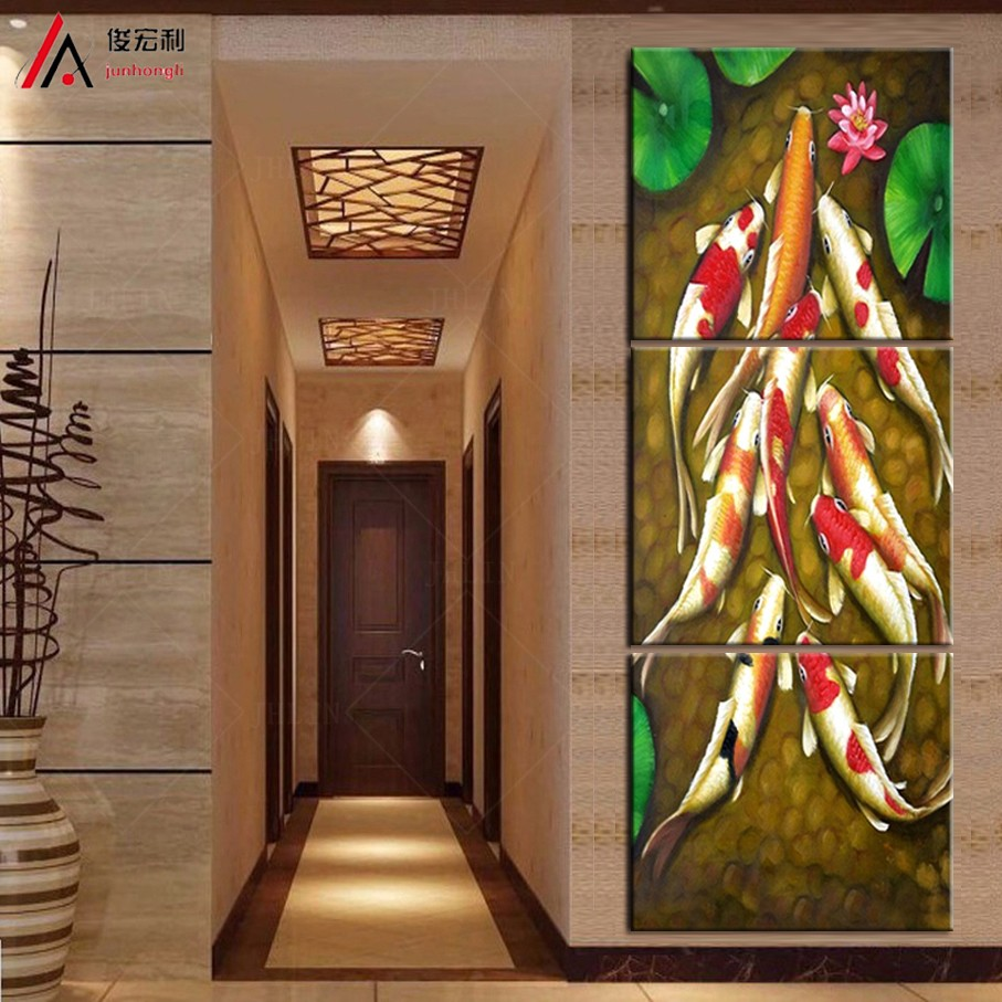 vertical forms Canvas Art Koi Fish Lotus Goldand Chinese Oil Painting Feng Shui Wall Pictures for Living Room posters and prints(China (Mainland))