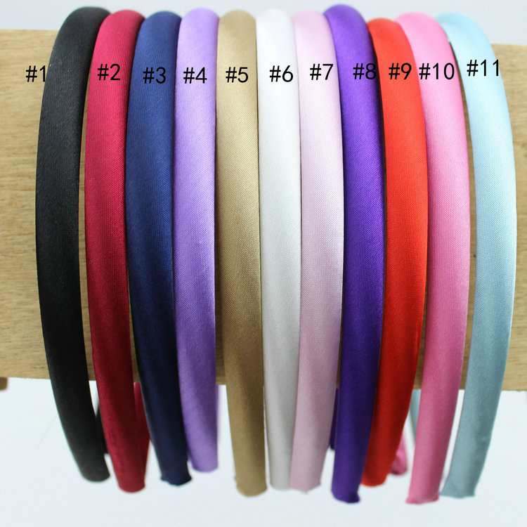 Hot 8mm Mix Colored Satin Covered Resin Fabric Headbands Plain Solid Plastic Hairbands Ribbon Covered Adult Kids Infant Headband(China (Mainland))