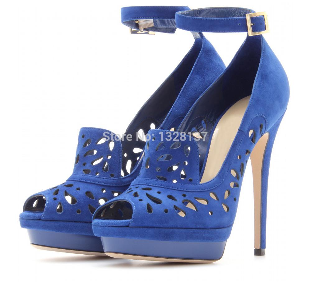 Navy Blue Womens Sandals Ankle Strap Heels High Heel Cut Out Sandals Shoes Woman Platform Pumps High Fashion Designer Brands