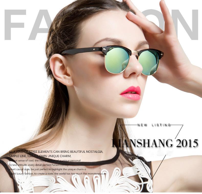 Hot Sale Vintage Wayfarer Sunglasses Women Retro Brand Sun glasses Men Female UV400 2015 Eyewear Points Women Multi Color Mirror(China (Mainland))