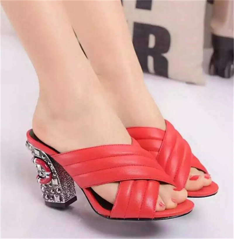 Soft Leather Thick High Heels Dress Shoes Woman Big Size 34-42 Sandals Sexy Open Toe Women Pumps Summer Slip On Lady Slippers(China (Mainland))