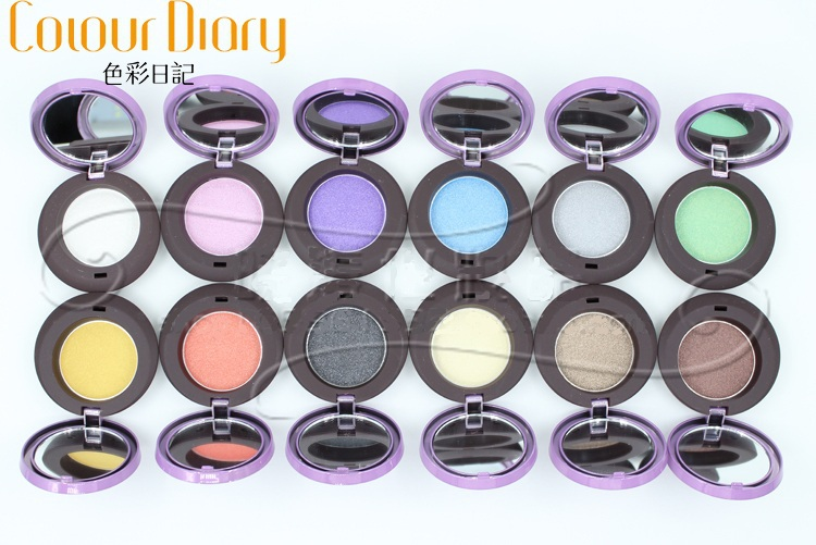 12 colors/lot Colorful Glossy Eye Shadow Crystal Single Color Eyeshadow 12 pcs Makeup Eyes Blusher Highlighter with Mirror S0009(China (Mainland))