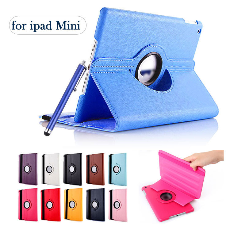 New generic 360-degree Swivel Pu Leather Rotating Case Smart Cover case For New iPad mini 1 2 3 Case Tablet Case with Stylus Pen(China (Mainland))