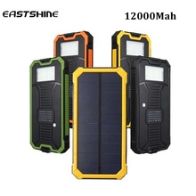 Eastshine 12000mah Cargador Portatil Solar Power Bank LED Camping Lantern Bateria Pack Energy Bank Sun Battery Charger Powerbank(China (Mainland))