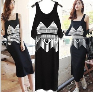 Winter women's fashion punk HARAJUKU spaghetti strap tube top personalized print full dress twinset one-piece dress