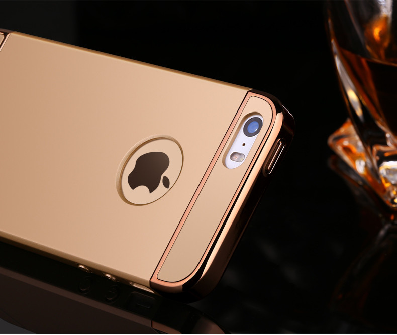 Fashion Slim 3 in 1 Plating Removable Hybrid Phone Case For iphone 7 6 6s Plus 5 5s SE Cover Combo Armor Case Cover Fundas Coque
