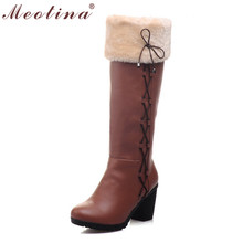 Meotina Invierno Mujeres Botas de Nieve Botas de Piel Zapatos de Las Señoras de La Rodilla Botas Altas arco Gruesos zapatos de Tacón Alto Negro Marrón de Gran Tamaño 42 43 9 10(China (Mainland))