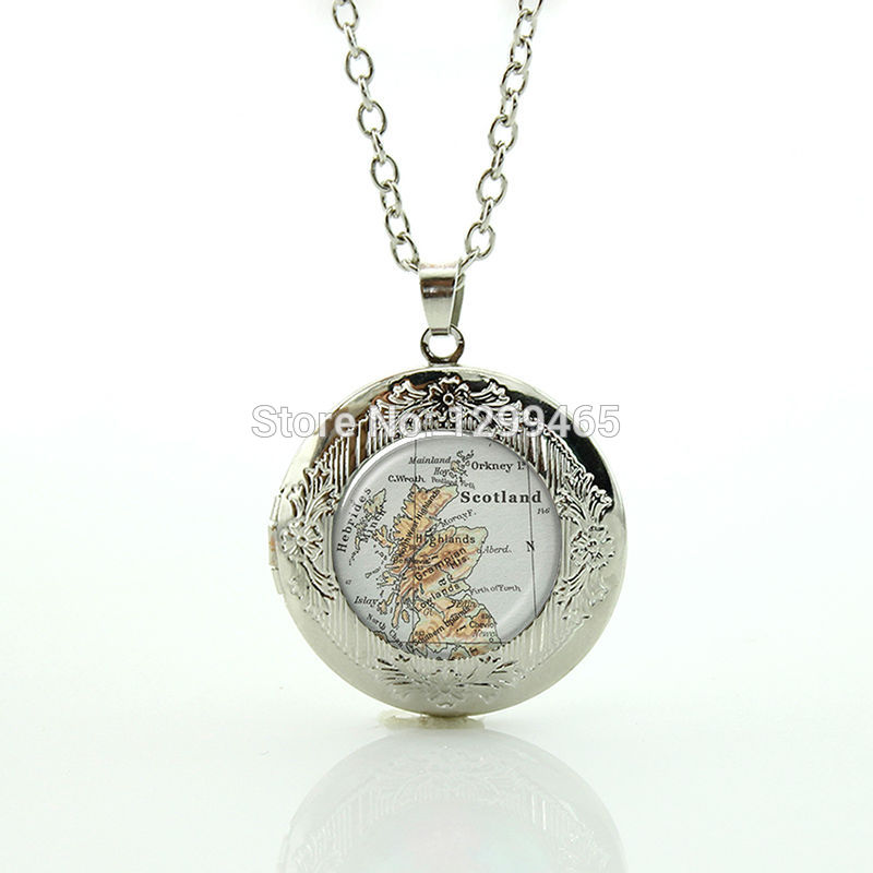 Scotland map jewelry souvenirs creative gift wholesale charms locket pendant vintage personalized gift for men and women N 892(China (Mainland))