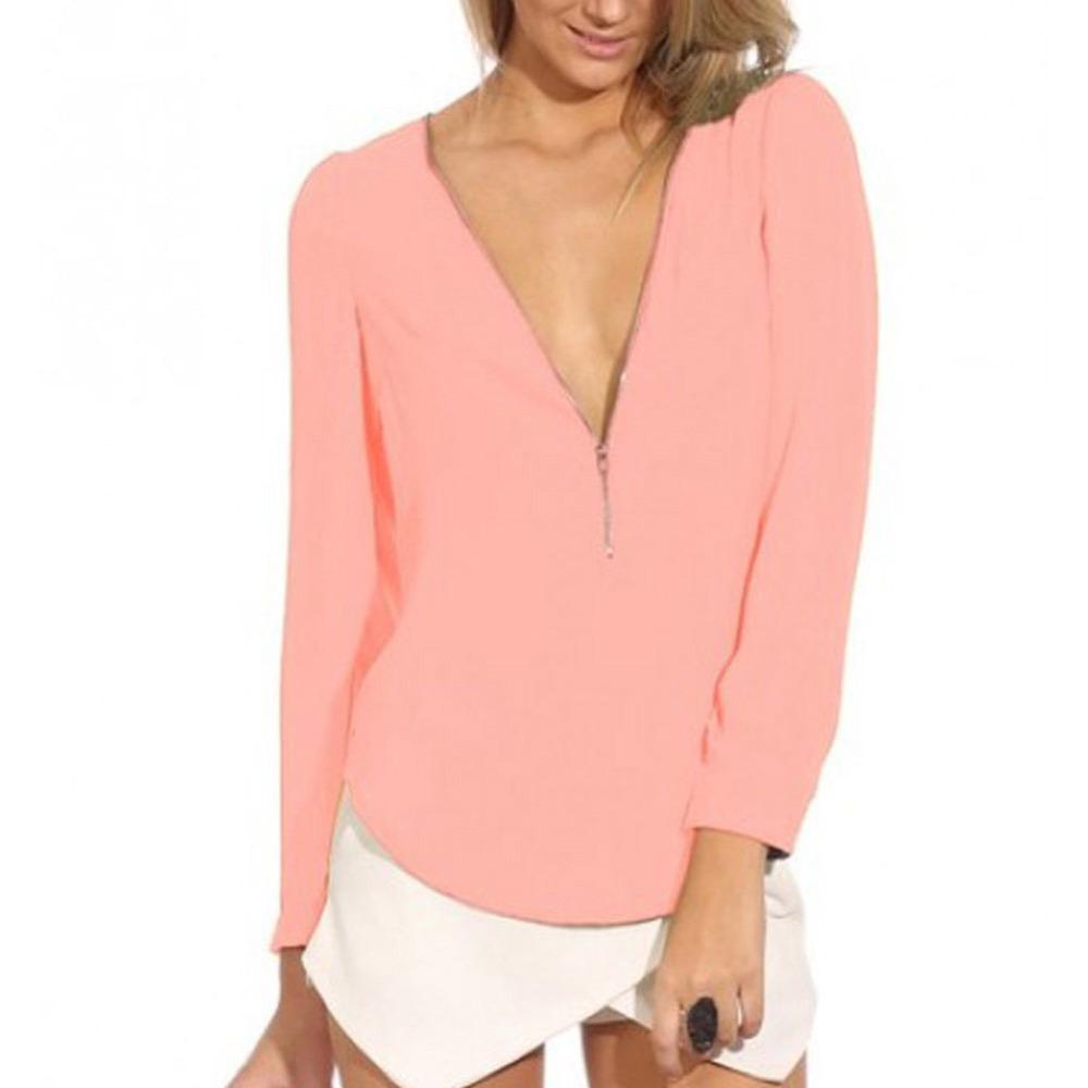 Popular 2015 New Fashion Women Blouse Ladies Office Shirts European Style Chiffon Blouses Long Sleeve ...
