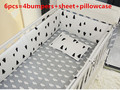 Promotion 6PCS Cotton Baby Bedding Set for Boys Cot Bedding and Lovely Baby Crib Bumper include