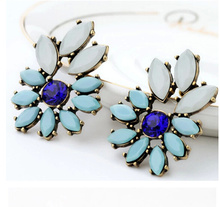 Blue Flower Girl's Statement Retro Earrings Gift Party Wedding Dress Jewelry Earring Wholesale