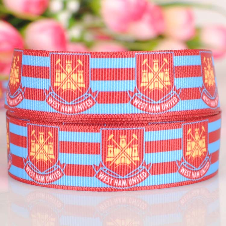 "ruban satin 7/8"" WEST HAM UNITED tape cartoon printed grosgrain softball ribbon DIY Holiday decoration hair accessories 703-5(China (Mainland))"