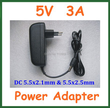 AC 100-240V to DC 5V 3A 3000mA Charger EU US Plug Power Supply Adapter 5.5×2.1mm / 5.5*2.1mm 5.5×2.5mm / 5.5*2.5mm