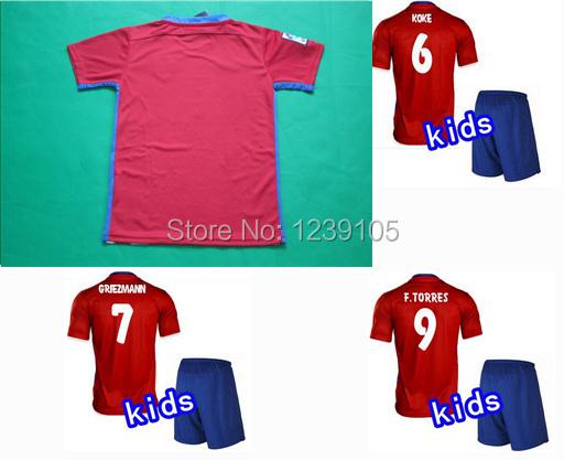 2015 2016 F.TORRES kids kit 15 16 children SIMEONE GODIN KOKE Griezmann GABI JACKSON M. boy shirts suit 16-28 Code(China (Mainland))