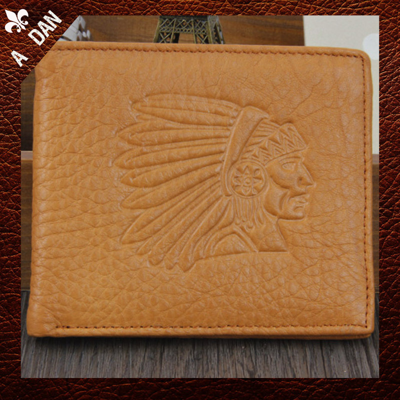 men wallets 2015 New Arrived Standard Wallets Genius Leather Cowhind Indian fashion embossed picture short Design male Purse(China (Mainland))