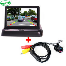 "High Resolution 4.3"" Color TFT LCD Folding Car Parking Assistance Monitors DC 12V Foldable Car Monitor With Rear View Camera(China (Mainland))"