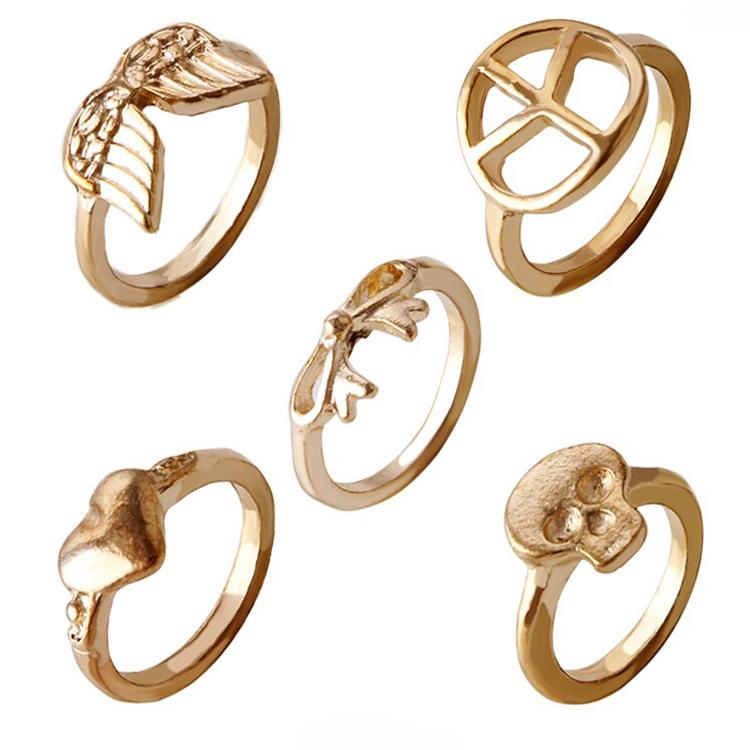 2015 vrouwen nieuwe mode merk kristallen ring sieraden gift bow vleugels top vredessymbool hart schedel ring r889( 5 stuks)(China (Mainland))