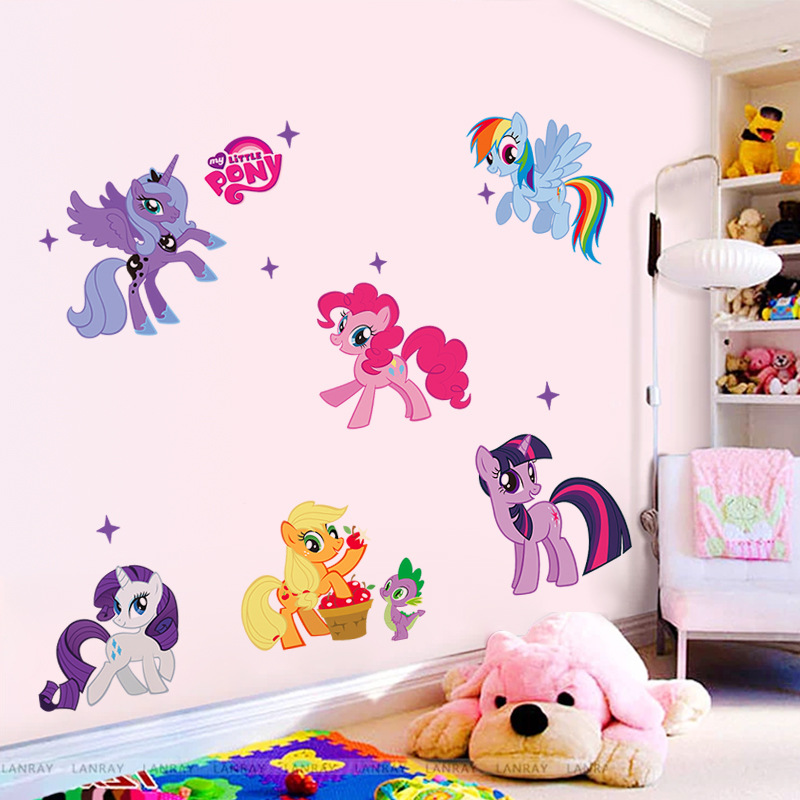 Children Room Decoration Wall Sticker Cartoon Theme Cute Little Lovely Poni PVC Wallpaper, Suit Kids Bedroom - The little store of Bruce