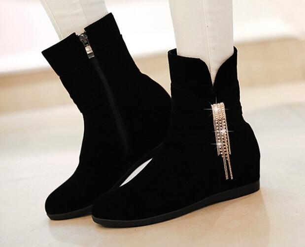 Black faux suede ankle boots women 2015 autumn new High quality flat heel riding boots(China (Mainland))