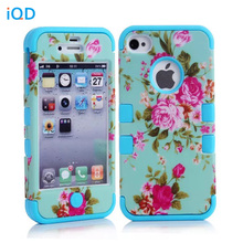 For iPhone4 4S Case Hybrid Armor Chic Peony Flower High Impact Cover Case for iPhone 4 4S Peony(China (Mainland))