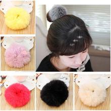 1 pc Fur Rabbit Hair Ring Super Elastic Hair Bands Women Hair Accessories Hair Donut(China (Mainland))