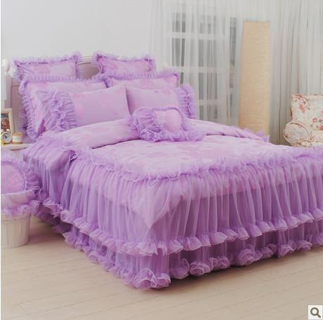 4pcs 6pcs Purple King Size Comforter Bedding Sets Korean