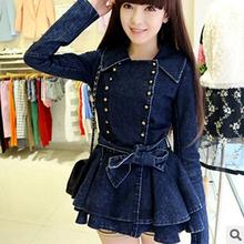 women winter coat Blue lotus leaf long sleeved double breasted jacket female Korean Denim Jacket Free Shipping