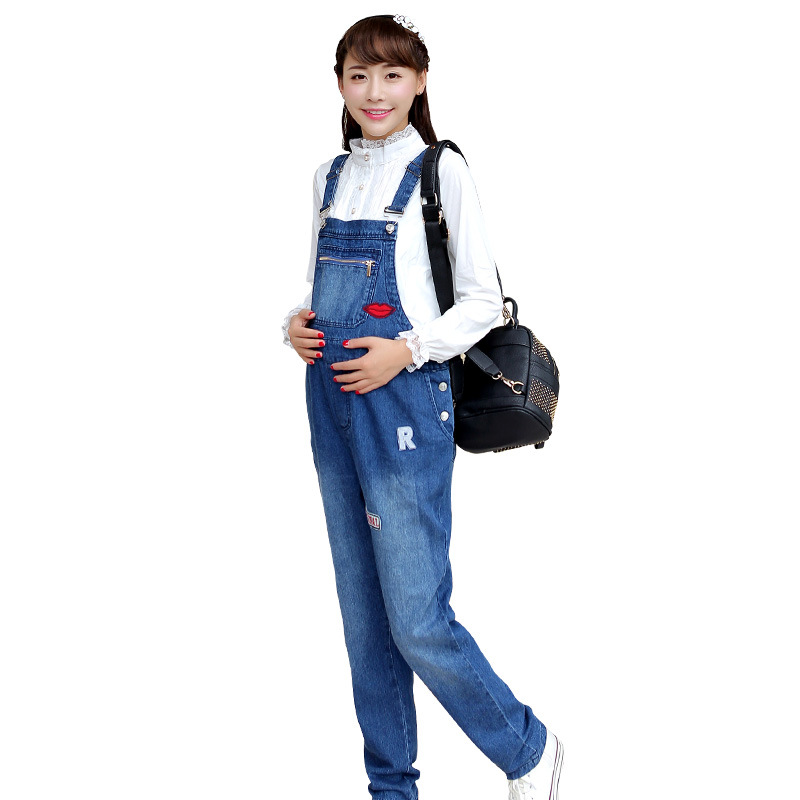maternity clothes fall pregnant women overalls zipper fashion jumpsuits cowboy pants<br><br>Aliexpress