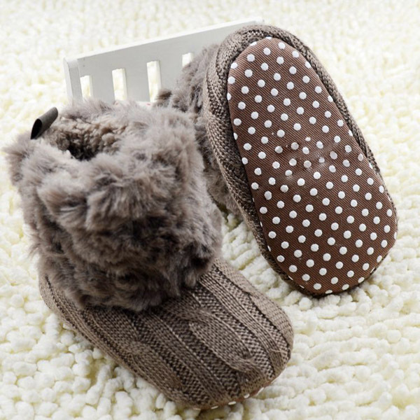 2016 New Warm First Walkers Winter Baby Ankle Snow Boots Infant Crochet Knit Fleece Baby Shoes For Boys Girls(China (Mainland))