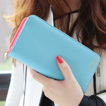 2014 new arrival fashion high capacity wallets contrast color zipper clutch women's long design wallet purse freeshipping