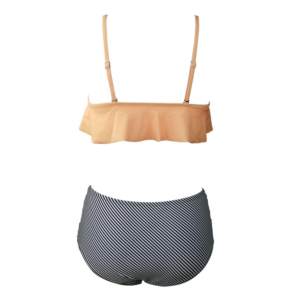 BLESSKISS-High-Waist-Swimsuit-New-2017-Ruffle-Vintage-Bikinis-Swimwear-Women-Bandage-Solid-Top-Striped-Bottom (2) -