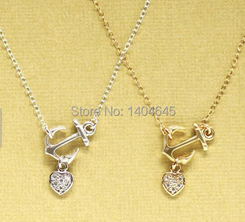 2015 Trendy Sideways Gold Anchor Necklace Garen Tin(China (Mainland))